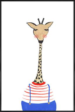 Giraffe with Clothes Poster in Standard Frame