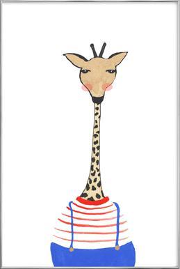 Giraffe with Clothes -Poster im Alurahmen