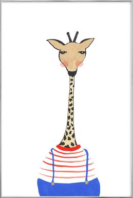 Giraffe with Clothes Poster in Aluminium Frame