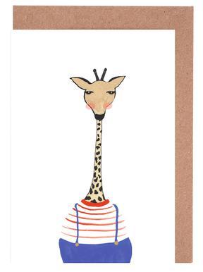 Giraffe with Clothes -Grußkarten-Set