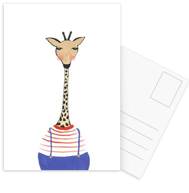 Giraffe with Clothes Postcard Set