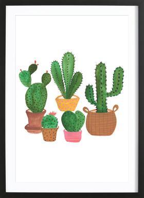 Cactus Family affiche sous cadre en bois