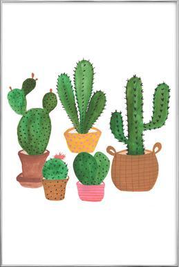 Cactus Family Poster in Aluminium Frame