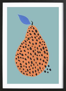 Joyful Fruits - Pear -Bild mit Holzrahmen