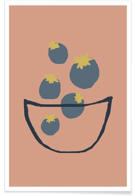 Joyful Fruits - Blueberries Affiche
