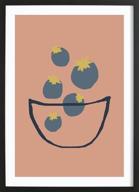 Joyful Fruits - Blueberries Framed Print