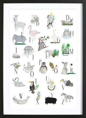 Animals with Letters Affiche sous cadre en bois