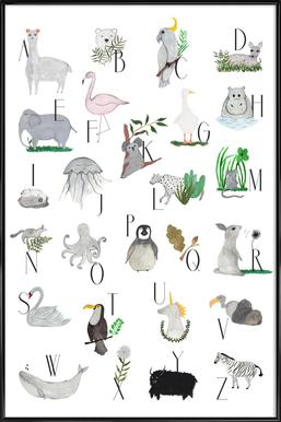 Animals with Letters Affiche sous cadre standard
