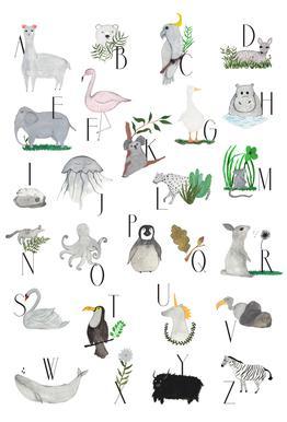 Animals with Letters Aluminium Print