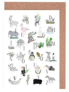 Animals with Letters -Grußkarten-Set