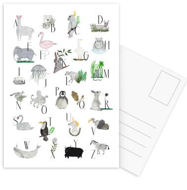 Animals with Letters -Postkartenset