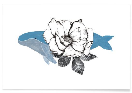 Floral Whale Affiche