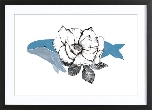 Floral Whale Poster in Wooden Frame