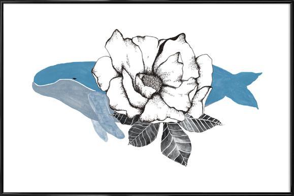 Floral Whale affiche encadrée