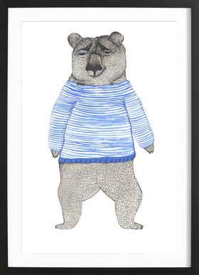 Bear with Stripes Poster in Wooden Frame