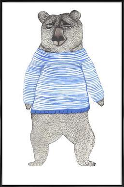 Bear with Stripes -Bild mit Kunststoffrahmen