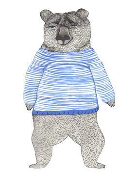 Bear with Stripes Canvas Print