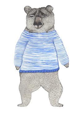 Bear with Stripes Impression sur alu-Dibond