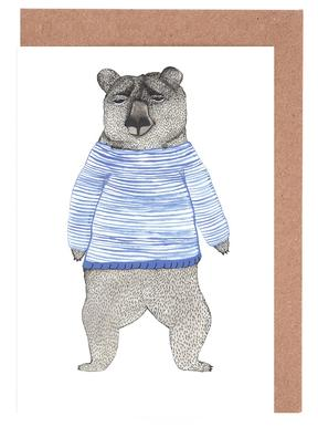 Bear with Stripes Set de cartes de vœux