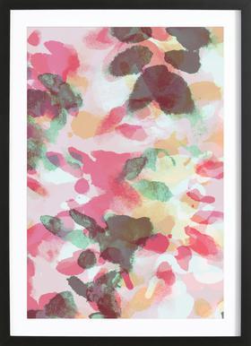 Floral Aquaellic affiche sous cadre en bois