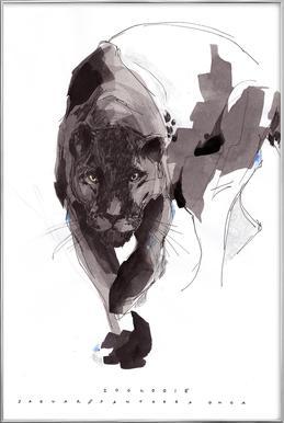 Black Panther Poster in Aluminium Frame