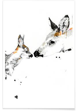 Bisous de chevreuils - Aquarelle Affiche