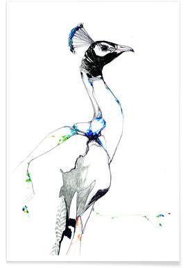 Pfau-Aquarell -Poster