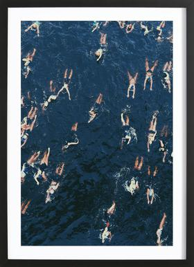Swimming -Bild mit Holzrahmen