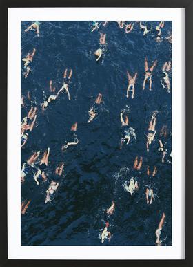 Swimming ingelijste print
