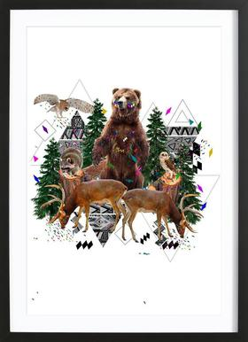Young Spirits in the woods Poster im Holzrahmen