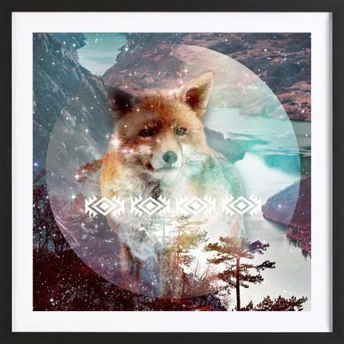 Fox Poster im Holzrahmen