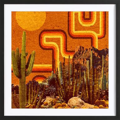 Desert Lines Poster im Holzrahmen
