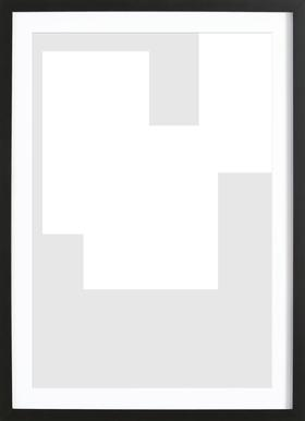 Three White Ones Poster im Holzrahmen