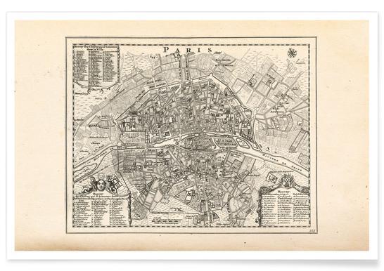 Paris, France, 1702 Poster