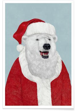 Polar Bear Santa Poster