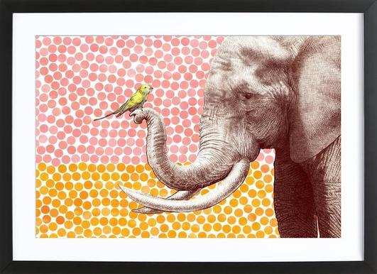 Elephant and Bird -Bild mit Holzrahmen