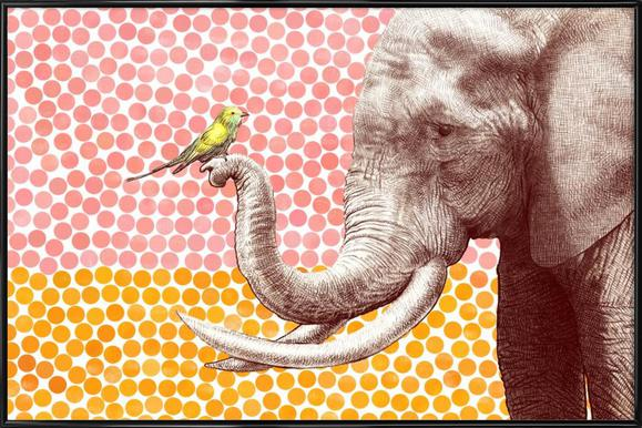 Elephant and Bird as Poster in Wooden Frame by Eric Fan | JUNIQE