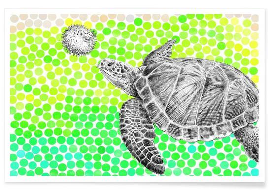 Turtle and Pufferfish -Poster