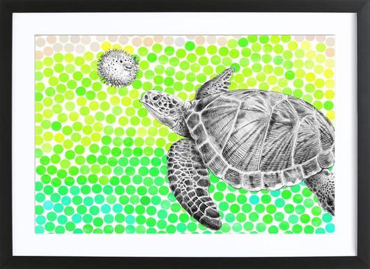 Turtle and Pufferfish ingelijste print