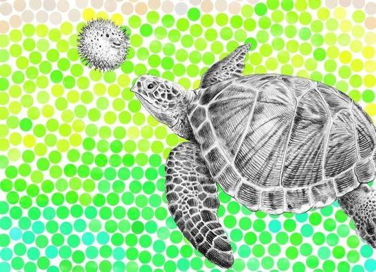 Turtle and Pufferfish canvas doek