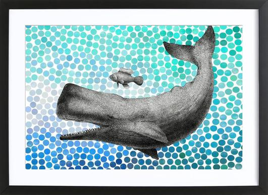 Whale and Fish ingelijste print