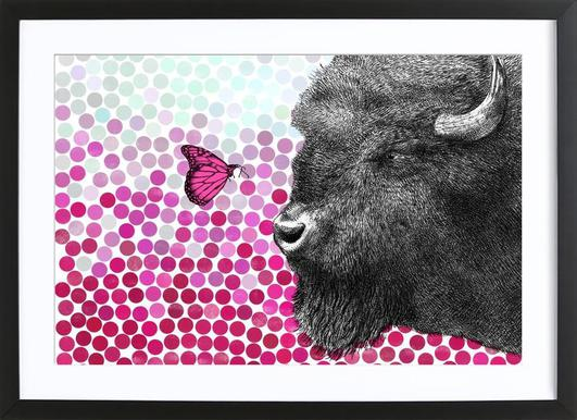 Bison and Butterfly Poster in houten lijst
