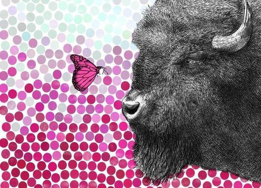 Bison and Butterfly canvas doek