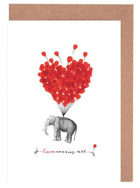 Love carries all - elephant Greeting Card Set