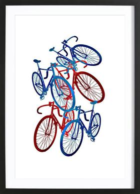 Red and blue bicycles Framed Print