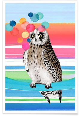 Merry Owl Poster