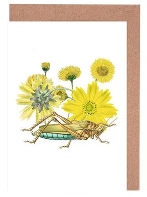 Yellow Flowers and Grasshopper Greeting Card Set