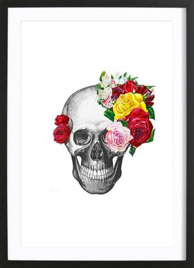 Skull with roses Poster in Wooden Frame