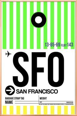 SFO San Francisco   Naxart   Poster In Aluminium Frame ...