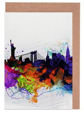 New york greeting cards juniqe new york watercolor skyline 1 naxart greeting card set m4hsunfo